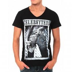 Tee Shirt Celebry Tees Peace And Love Noir