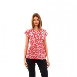 Tee Shirt Vero Moda Burnout Raspberry/Leopard
