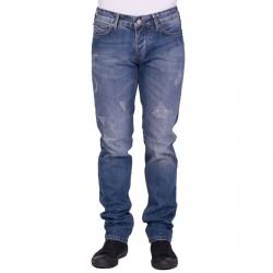 Jean Armani Jeans J06 Fitted Fit Bleu destroy