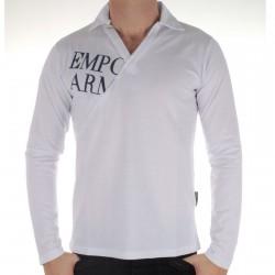 Polo Col V Emporio Armani Blanc