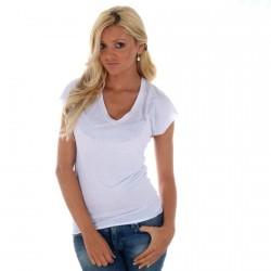 Tee Shirt Eleven Paris Basic V Button W Blanc
