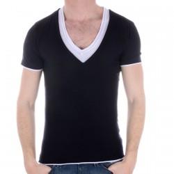 Tee Shirt Eleven Paris Basic Double V Noir/Blanc