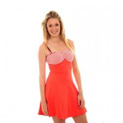 Robe Vero Moda Stripe Fleur Orange