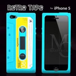 Coque iPhone 5 Retro Tape-Bleu