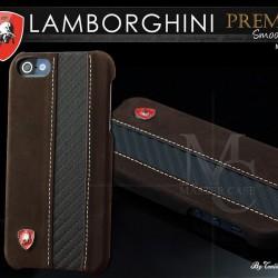 EXCLUSIF-Coque iPhone 5 Lamborghini Smooth Leather-Marron